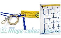 Сетка для волейбола с металлическим тросом 5272: 9x0.9м, ячейка 15x15см