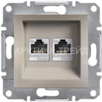SCHNEIDER Розетка компьютерная двойная RJ45 кат.5е UTP, бронза, Asfora EPH4400169