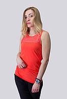 Летняя распродажа! Женская майка с гипюровой вставкой. Оранжевая, белая , черная. р.S, M, L, XL.