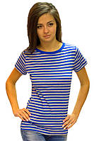Полосатая футболка тельняшка женская летняя с коротким рукавом хлопок хб синий серый трикотажная (Украина)
