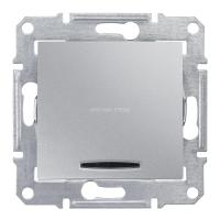 SCHNEIDER Механизм выключателя 1-клавишный с синей подсветкой, алюминий, Sedna SDN1400160