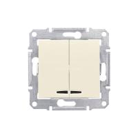 SCHNEIDER Механизм выключателя 2-клавишный с синей подсветкой, слоновая кость, Sedna SDN0300323