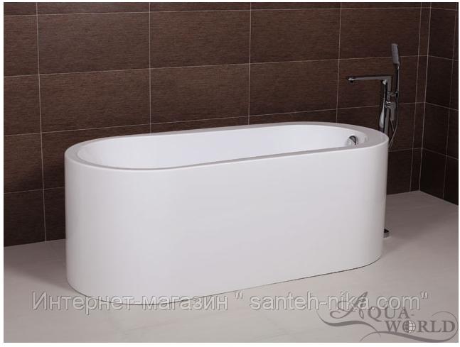 Ванна акриловая, пристенной/островной установки Aqua-World AW512 с сифоном D-4 АВ512 белая