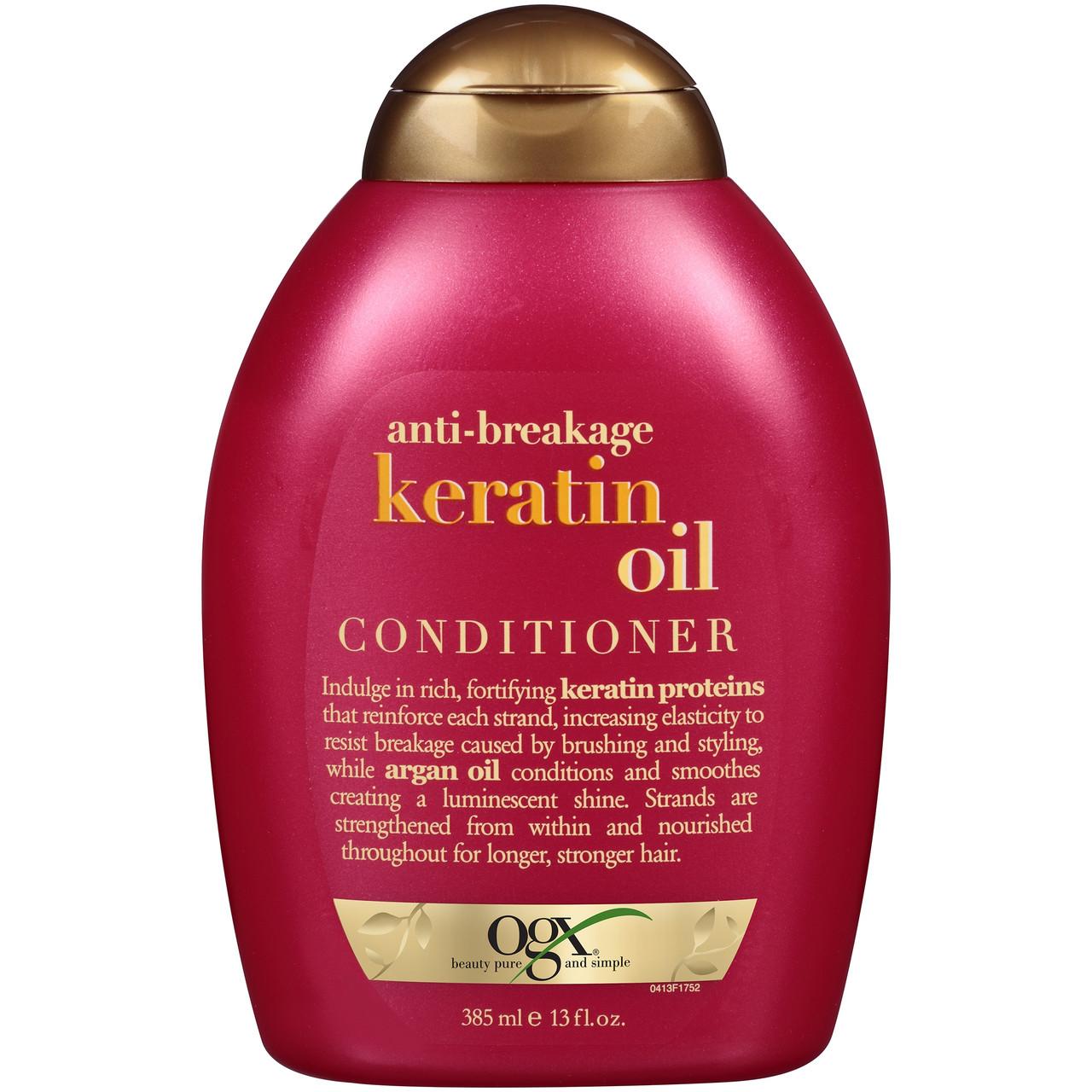 Кондиционер OGX® против ломкости волосс кератиновым маслом, 385 мл. Сделано в США.