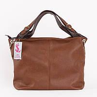 Объемная женская сумка коричневый сатин art. 1356r1