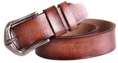 Интересный ремень из искусственной кожи 305253 коричневый ДхШ: 125х4 см.