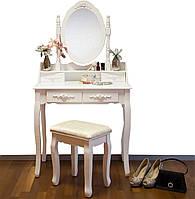 Туалетный столик Мирка белый с зеркалом
