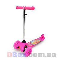 Самокат детский Scooter Mini Cartoon Barbie с рисунком светящиеся колеса