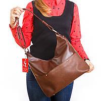 Коричневый мягкий мешок вместительная сумка с ручкой