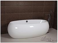 Ванна акриловая, островной установки с переливом  Aqua-World AW430 с сифоном D-4 АВ430 белая
