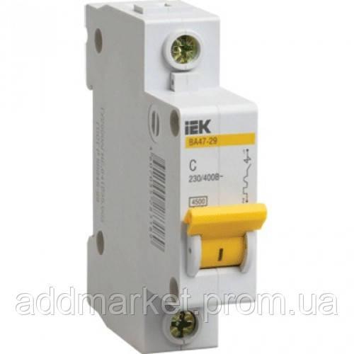 Автоматичний вимикач ВА47-29 1P  6A 4,5кА х-ка B IEK