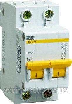 Автоматичний вимикач ВА47-29 2P 16A 4,5кА х-ка B IEK