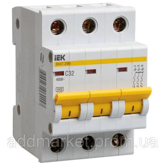 Автоматичний вимикач ВА47-29 3P 20A 4,5кА х-ка B IEK