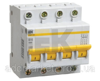 Автоматичний вимикач ВА47-29 4P 25A 4,5кА х-ка C IEK