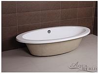 Ванна акриловая, врезная с переливом Aqua-World AW821 с сифоном D-4 АВ821 белая