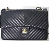 Брендовая сумка Chanel Шанель черная полоска большего размера