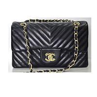 Брендовая сумка Chanel Шанель черная полоска среднего размера