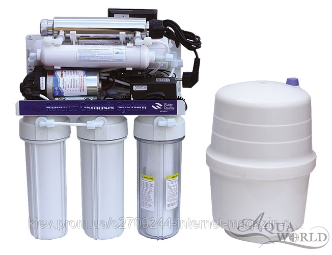 Фильтр 6-ступенчатая система ОС с насосом и UV лампой KCRO-5BС+UV 50GPD6WUV