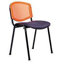 Стул Изо Веб Лак черный, сиденье Сетка черная, спинка Сетка оранжевая