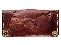 Кожаный кошелек ручной работы с тиснением Игуана Gato Negro Iguana Brown