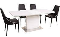 Стол обеденный раскладной ТM-50-1 белая база, белая столешница МДФ с каленым стеклом 120-160х80х76Н