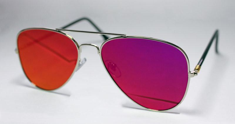 Женские  солнцезащитные очки-авиаторы с цветными линзами
