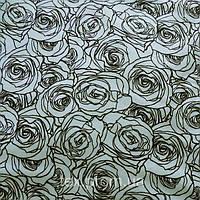 Трикотажное полотно кулирная гладь (кулир) хлопок / эластан пенье 40/1, розы на ментоловом