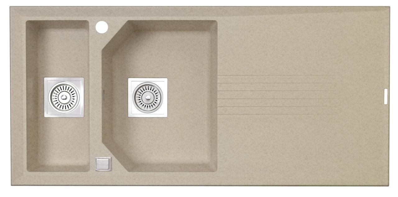 Гранитная полуторачашевая гранитная мойка для кухни LONGRAN PREMIUM HELIX 1.5 Island Sand (Granite)