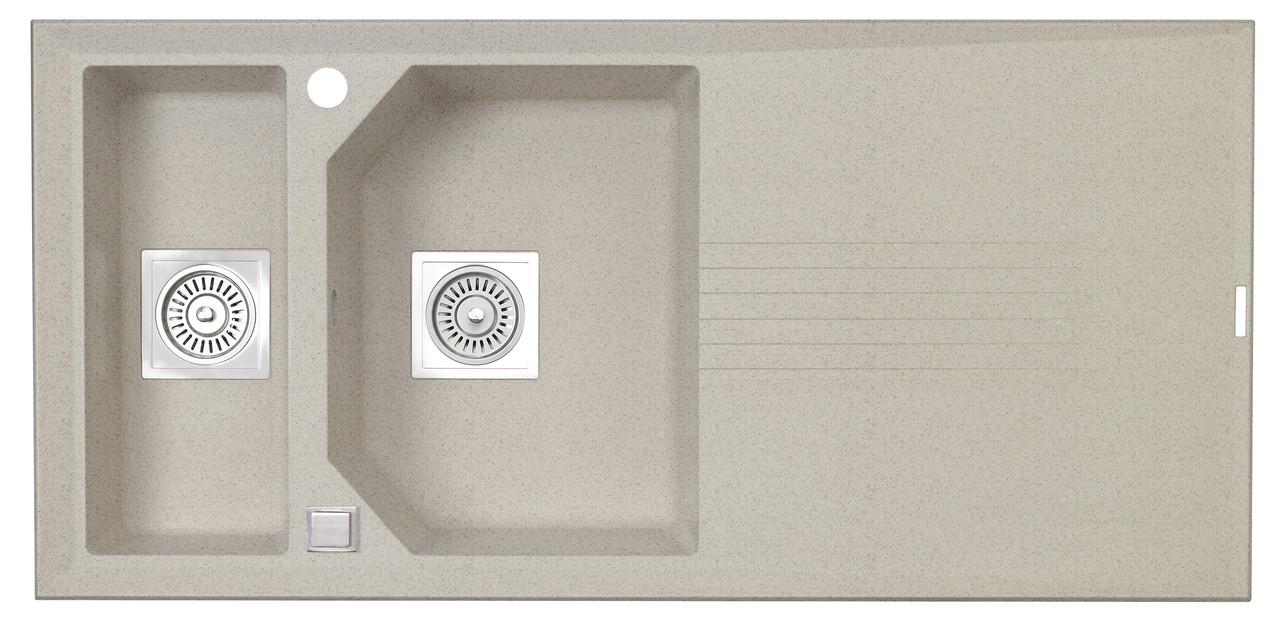 Гранитная врезная кухонная полуторачашевая мойка LONGRAN PREMIUM HELIX 1.5 Bermuda Sand (Granite)