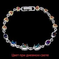 Опал черный огненный и рубин, серебро 925, браслет, 041БО