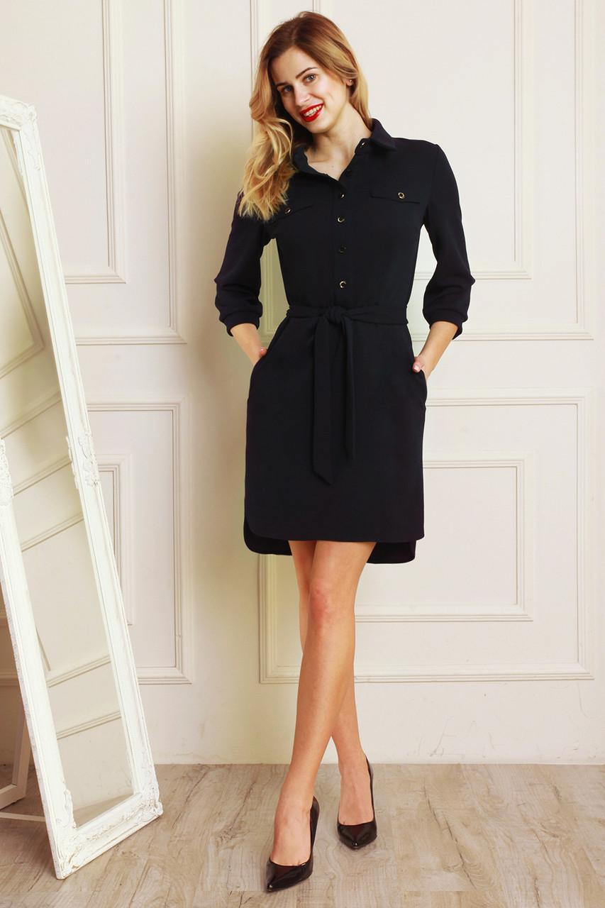 b671cb49269 Модное повседневное платье рукав 3 4 темно-синего цвета от оптово ...