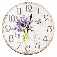 """Круглые настенные часы """"Лаванда, бабочка"""" (34см)"""