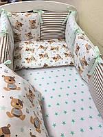 Комплект в кроватку (бортики - подушки) BabyDesign Тедди (натуральный наполнитель - ekotton)