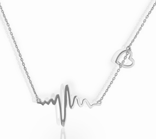 Серебряный кулон с цепочкой Сердцебиение картинка