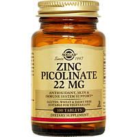 Solgar zinc picolinate, Цинк пиколинат, 100 таблеток