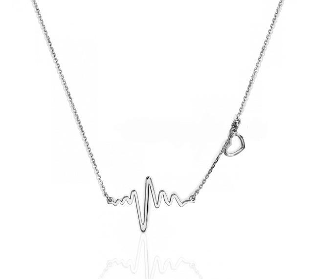 Серебряный кулон с цепочкой Сердце картинка