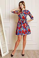 Легкое летнее платье из стрейчевого джинса с цветочным принтом