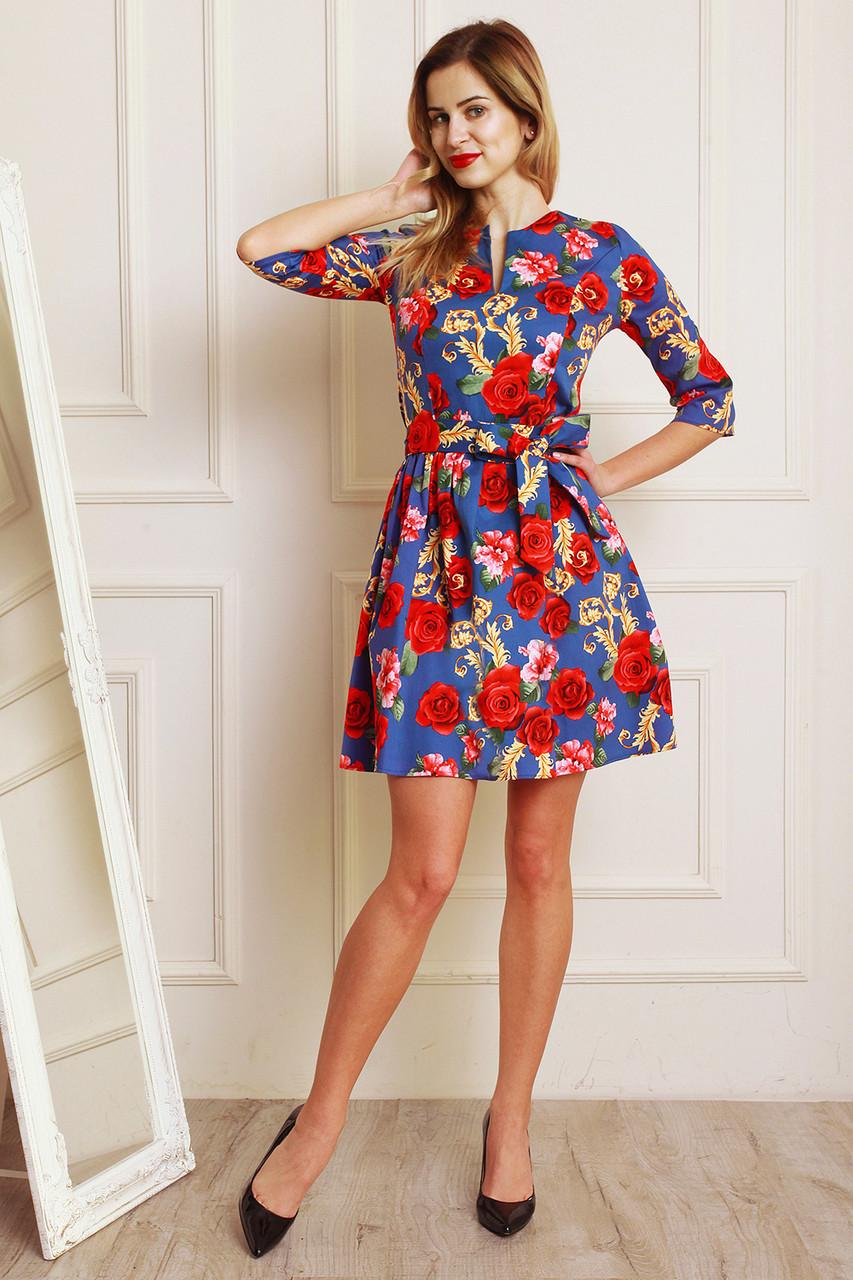 0193b1a2892ae30 Легкое летнее платье из стрейчевого джинса с цветочным принтом -  Оптово-розничный магазин одежды