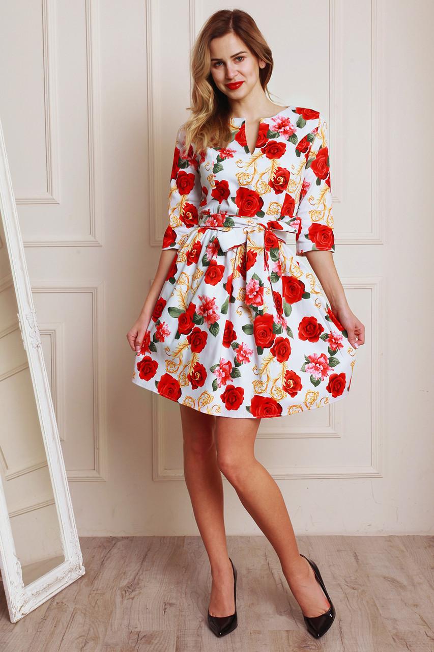 f194ef34ff0 Модное белое платье с цветочным рисунком и пышной юбкой - Оптово-розничный  магазин одежды