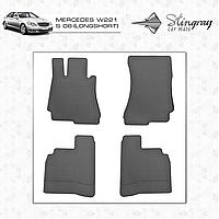 Коврики резиновые в салон Mercedes W221 S c 2006 (long/short) (4шт) Stingray