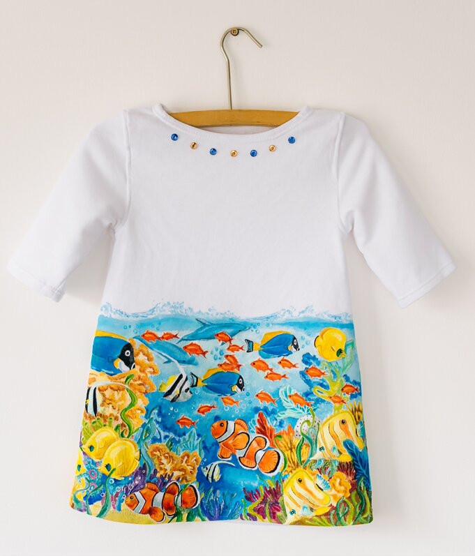 Платье с ручной росписью Рыбки