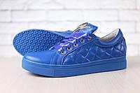 Кеды-криперы женские, из натуральной кожи, на шнурках, синие
