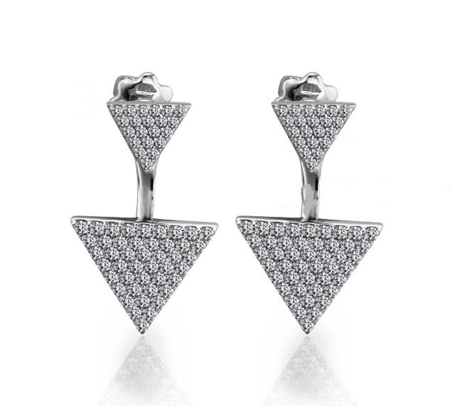 Серебряные серьги гвоздики Треугольники картинка