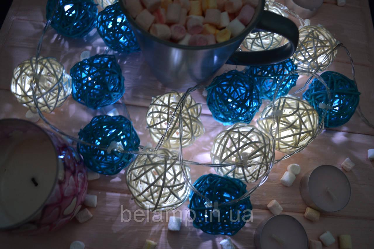 """Новогодняя светодиодная гирлянда на батарейках из шариков ротанга """"Летняя"""""""