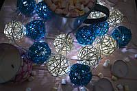 """Новогодняя светодиодная гирлянда на батарейках из шариков ротанга """"Летняя"""", фото 1"""