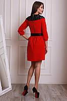 Шикарное вечернее платье в бордовом цвете в черной кружевной вставкой