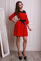 Праздничное молодежное платье в красном цвете пышная юбка и кружевная вставка на груди