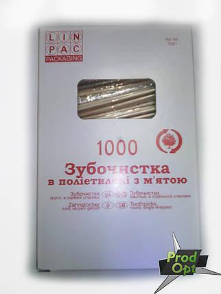 Зубочистка 1000 шт в індивідуальній упаковці М`ята , фото 2