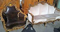 Комплект мягкой мебели (диван и одно кресло) в стиле барокко б/у.