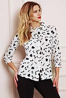 Модная весенняя блуза с рукавом 3/4 застегивается на пуговицы